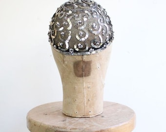 Vintage 1920's Sequin Skull Cap roaring twenties flapper art deco original 20's sequin hat beaded headpiece