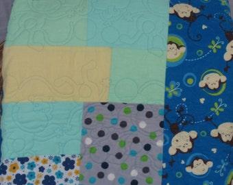 Flannel monkey quilt