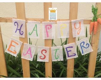 Happy Easter Banner, Easter Decor, Easter Banner, Happy Easter, Easter mantle, Bunting, Holiday Decor, Home Decor, Holiday Banner