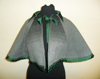 Victorian cape, soft grey wool