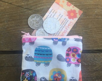 Handmade in Australian Tiny Turtle Coin purse , lip gloss holder , opal card holder , bag organisers.