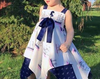 Nautical Dress - Sailor Dress - Girls Dress - Toddler Dress - Summer Dress -  Beach Dress - Vacation Dress - Anchor Dress - Dress