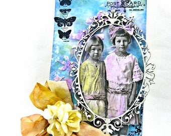 Vintage Style Art Tag with Framed Paper Doll Image, Ribbon and Flowers