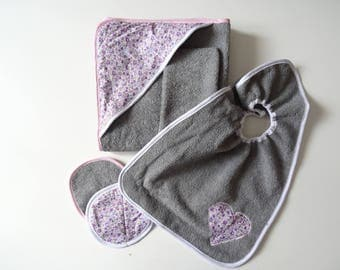 Bath cape, glove, bib and washable wipes gray and pink, birth gift, baby set, baby gift, towel, toilet accessories, baby shower