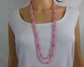 Beautiful Rose Quartz and  Rhinestone Long Necklace - Vintage