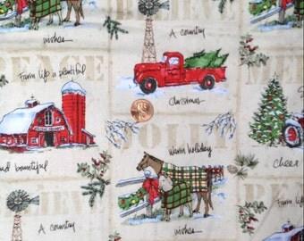 A Country Christmas, Tractor, Barn, Horse, Farm Fabric~100% Cotton~Fat Quarter/ FQ or Half Yard