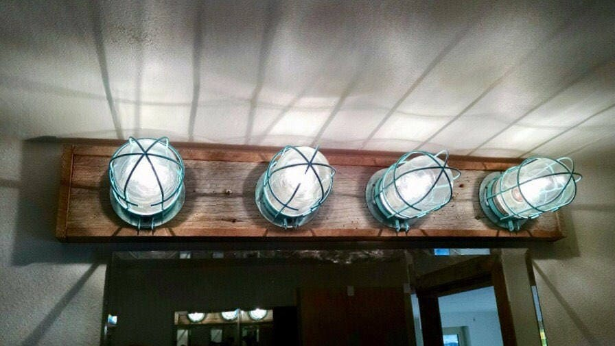 Nautical Bathroom Light Fixture: Custom Beach Nautical Vanity Wall Light Bar