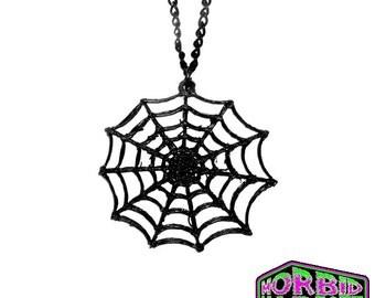 Black Spider Web Cobweb Pendant Black Chain Necklace *MORBID MARKET EXCLUSIVE*Multi Colour Options*