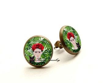 Frida Kahlo Earrings, Frida Kahlo Jewelry, Frida stud,Frida With Black Cat, Frida Kahlo Gift, Hypoallergenic Earrings for Sensitive Ears