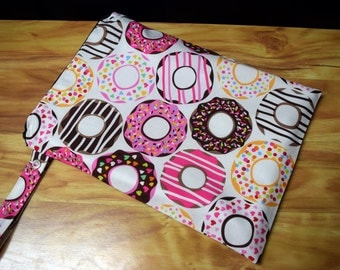 Doughnut Donuts  Wet Bag~Bikini bag, Baby, Swim, Travel, Diaper, or Beach Wash Bag~ Dry Bag~ Reuseable PUL Bag