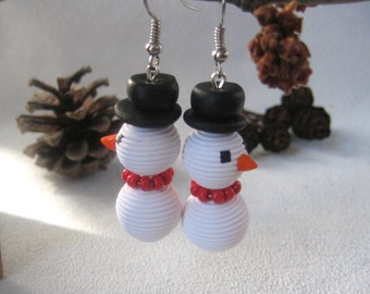snowman Christmas earrings jewelry White dangle earrings Christmas jewelry cute Christmas gift holiday earrings gift jewelry New Year gift