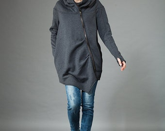 Women's Hoodie, Warm Hoodie, Cotton Coat, Asymmetrical Front Zipper, Hooded Coat,Handmade,Dark Gray Hoodie,Clothes Navaho,Handmade by Navaho