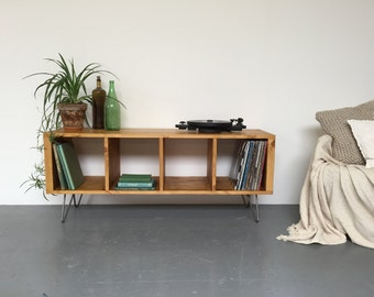Sonor Large Record Player TV LP Vinyl Storage Stand Cabinet Table on Mid Century Hairpin Legs.
