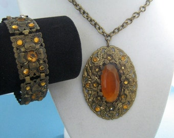Bronze Tone and Faux Topaz Cannetille Necklace and Bracelet Set