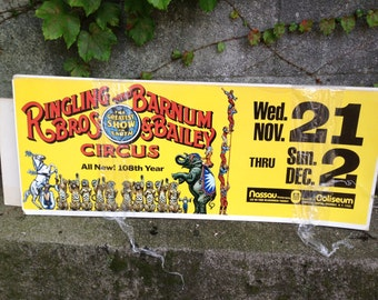 Vintage RINGLING BROS Barnum & Bailey Circus Cardboard sign 108th year