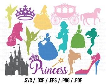 Princess SVG Clipart, Cricut Clipart Design File, Princess SVG, Silhouette Die Cut Machine, Girls Wall Art, DXF File Vinyl Cutter,  - CA416