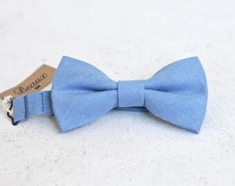 Cornflower Blue Linen Bow Tie