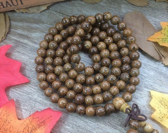 108pcs Natural 8mm/6mm WENGE Round Wooden Beads Meditation Prayer Beads Japa Mala Buddha Necklace