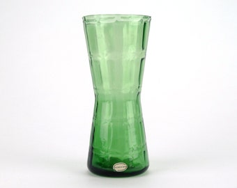 Mid century modern Swedish textured green glass vase - Vintage Scandinavian green vase with original label