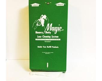 Vintage Green Metal Hanging Magic Lens Cleaning Station