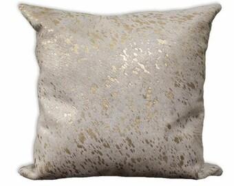 Gold Acid Wash Cowhide Pillow Case