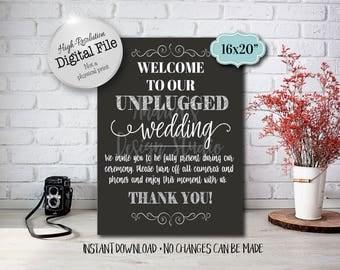 Unplugged Wedding Sign, Wedding Printables, Wedding Decor, Wedding Ceremony Sign, Wedding Sinage, 8x10/16x20, Instant Download, Digital File