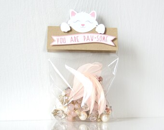 Kitty Valentine's Toppers: treat bag, goodie bags, valentine bags, class bags, pass out, sweet sayings, puns, school- LRD017V