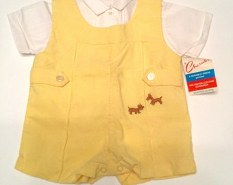 Vintage 1960s/70s new with tags baby boy outfit  -3 months - Imports by Cherub -puppies -romper -pintuck blouse -corduroy