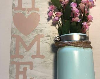 Home Mason Jar and Flower Wall Decor