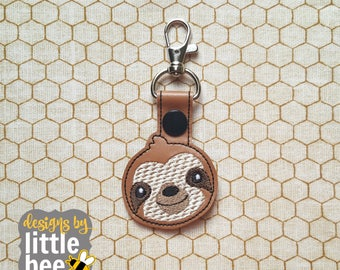happy little sloth snap tab design - keychain key fob for embroidery - sloth embroidery design -DIGITAL machine embroidery design 03 24 2017