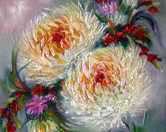 "Mums. Original oil painting  5x5x5/8""  mum flowers, mini art, floral gift"