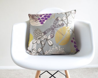 """Grey/Purple/Mustard Vintage Cotton Linen Pillow/Cushion Cover in 18 x 18"""""""