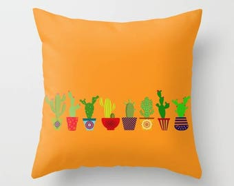 Cactus pillow cover-Cacto pillow cover-Succulents-Cool-Colourful Pop art pillow- Cacti 16x16 pillow-18x18-20x20-Etsy gift-Modern pillow