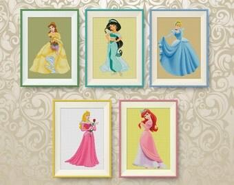 SET, Disney princesses cross stitch pattern, Ariel, Belle, Cinderella, Jasmine, Aurora, PDF counted cross stitch, Instant Download, #P262