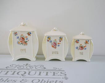 Set of 3 vintage earthenware, floral, spices spice boxes