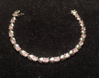 RCZ 925 sterling silver with 17 heart and 17 pink stone gem bracelet