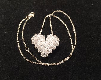925 sterling silver clear heart necklace