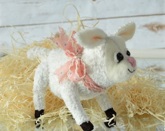 Spring Lamb Bear - handmade teddy bear with gift box