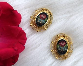 Vintage Embroidered Floral Clip On Earrings