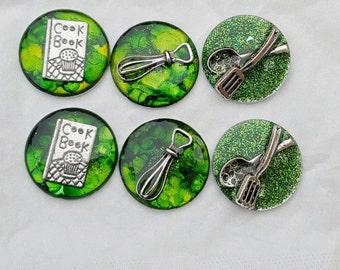 Gifts under 20: Chef, baker magnets, set of 6, green background