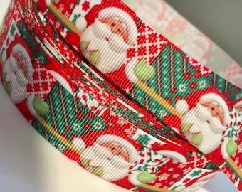 On Sale 7\8 Inch Christmas Ribbon by The Yard Santa Clause Ribbon Present Ribbon Gift Wrapping Ribbon Holiday Ribbon  Christmas Bow