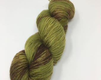 Forest Floor Indie Dyed Yarn on Merino cashmere Nylon MCN  Green Brown