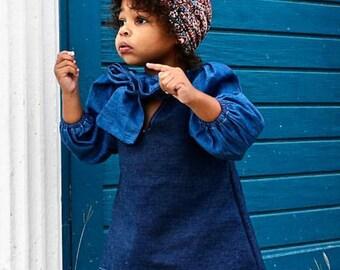 Vintage Inspired Double Denim Shirt dress for Toddlers Jean Mini Dress
