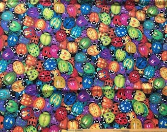 Timeless Treasures colorful rainbow lady bugs beetle Quilting cotton quilt fabric, cotton fabric, by the yard, 100% cotton, sewing, quality