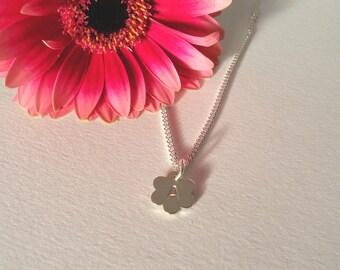 Girls/ladies small sterling silver flower personalised