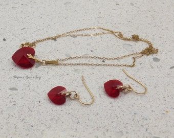 Necklace & Earrings, Passion, Swarovski Crystals, 14 Kt Gold Filled Metal