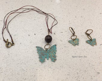 Pendant & Earrings, On Wings, Bronzite, Brass with Patina