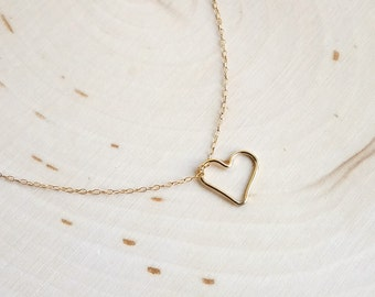 Open Heart Necklace Gold-Filled or Sterling Silver