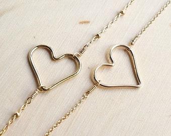 14k Gold Filled Open Heart Bracelet - Valentines Gift - Christmas Gift - Love Themed Jewelry - Friendship Bracelet - Layering Bracelet