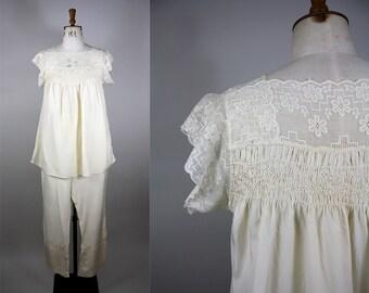 1920s Silk Pyjamas / 20s Pajama Set / 1920s Smock Top / Cotton Lace / Cream Silk PJs / Size Large / M L XL